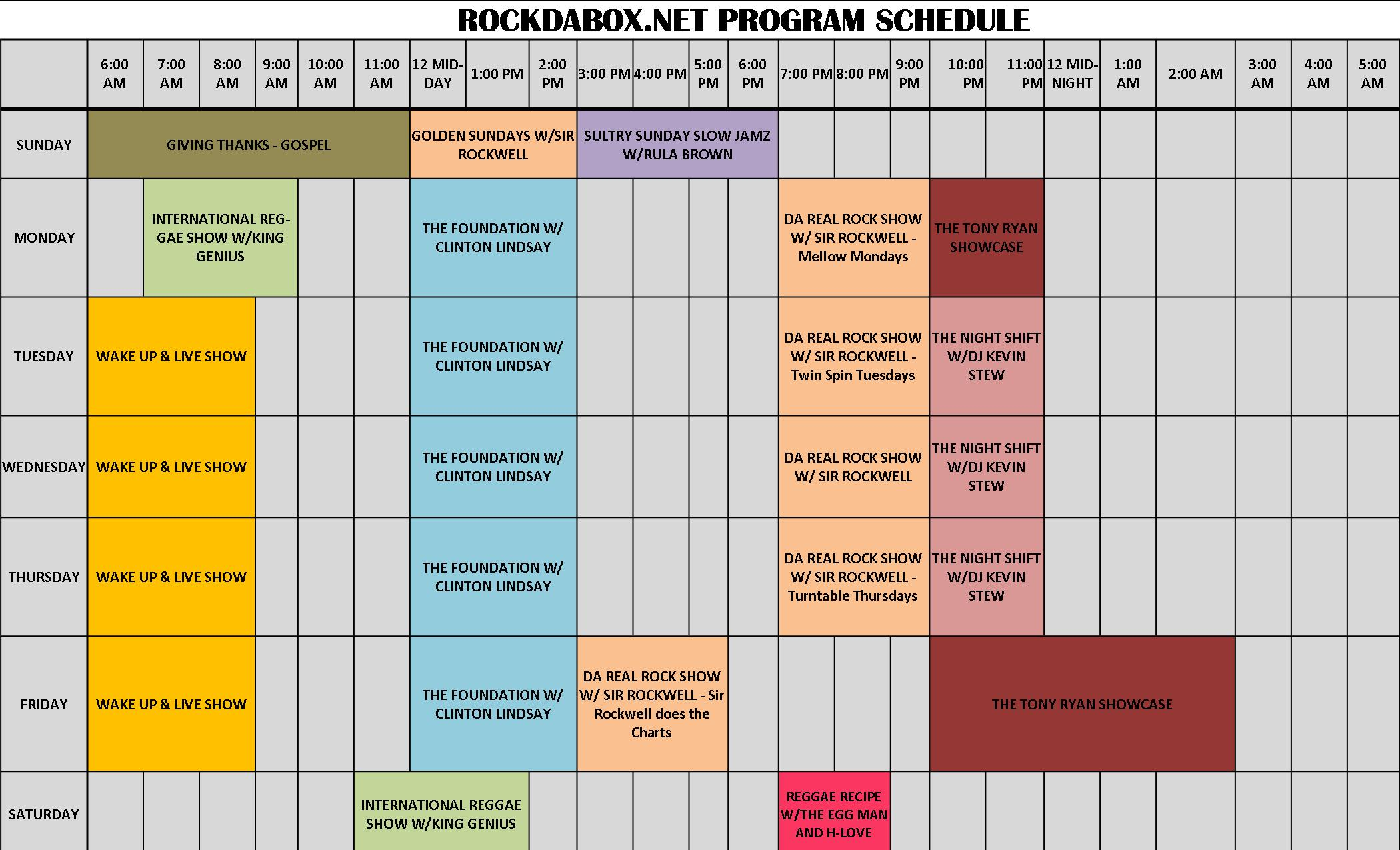RockDaBox Program Schedule 032913